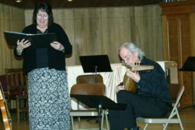 Pat and James presenting songs by Guillaume de Machaut at St. Mark's Episcopal Church in Medford.