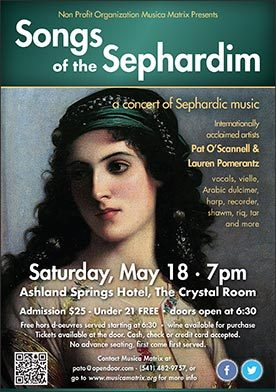Songs Of Sephardim Concert Poster May 18, 2019