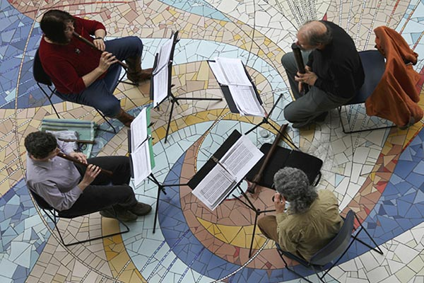 Ensemble Fontegara Renaissance recorders at Rotunda at SOU Library